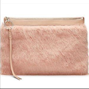 New Rebecca Minkoff Blush Pink Faux Fur Clutch